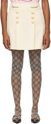 Gucci Off-White Wool Argyle Horsebit Miniskirt