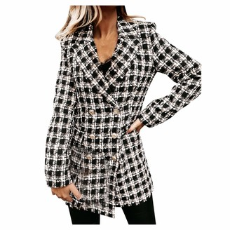 SSMENG Women's Lapel Button Plaid Blazer Casual Long Sleeve Slim Work Office Double Breasted Woolen Jacket for Ladies Grey