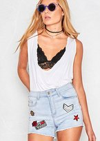 Missy Empire Chlo Blue Denim Badge Shorts