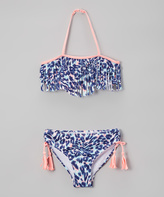 Jantzen Blue & Pink Into the Wild Leopard Fringe Bikini - Girls