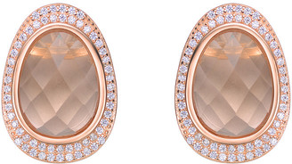 Genevive 14K Rose Gold Over Silver Cz Drop Earrings