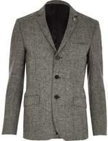 River Island MensGrey Vito textured blazer