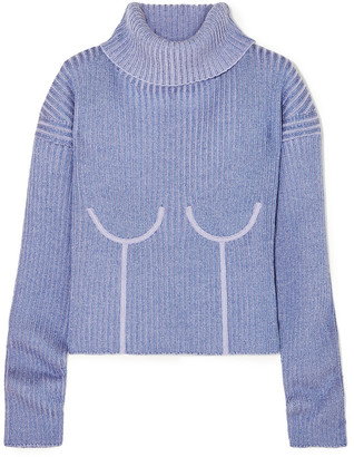 Thierry Mugler Ribbed Melange Wool-blend Turtleneck Sweater