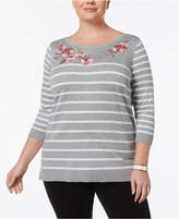 Karen Scott Plus Size Embroidered Striped Sweater, Created for Macy's