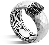 John Hardy Palu Silver Lava Overlap Band Ring with Black Sapphires
