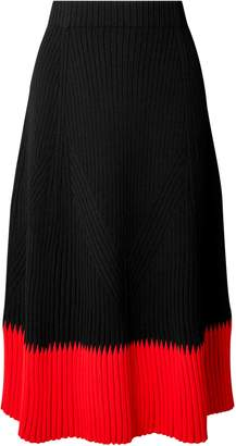 Alexander McQueen Two-tone Ribbed-knit Midi Skirt