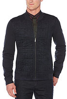 Perry Ellis Quilted Front Knit Full-Zip Shirt