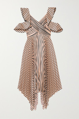 Self-Portrait Self Portrait Cutout Pleated Striped Satin Dress - Neutral