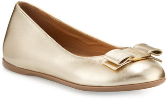 Salvatore Ferragamo Varina Mini Leather Ballet Flats, 10T-2Y
