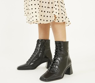 Office Ariella Lace Up Boots Black Leather