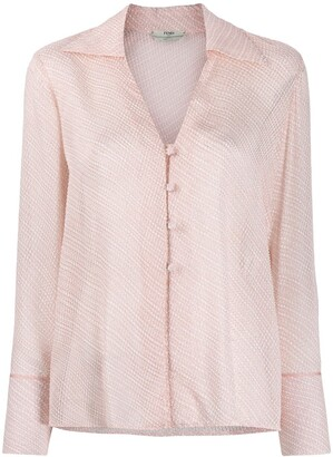Fendi V-neck textured shirt