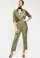 Missguided Khaki Satin Knot Front Shirt Romper
