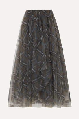 Brunello Cucinelli Checked Tulle Midi Skirt - Gray