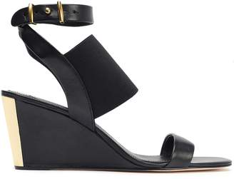 DKNY Gili Leather And Stretch-knit Wedge Sandals