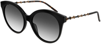 Gucci Round Acetate Bamboo Effect Arms Sunglasses