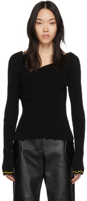 Bottega Veneta Black Boucle Draped Sweater