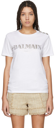 Balmain White Metallic Logo T-Shirt