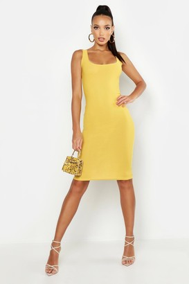 boohoo Basic Square Neck Bodycon Midi Dress