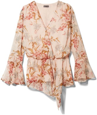 Vince Camuto Wildflower-print Cinch-waist Blouse