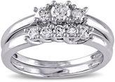 JCPenney MODERN BRIDE 2/5 CT. T.W. Diamond 10K White Gold 3-Stone Bridal Ring Set