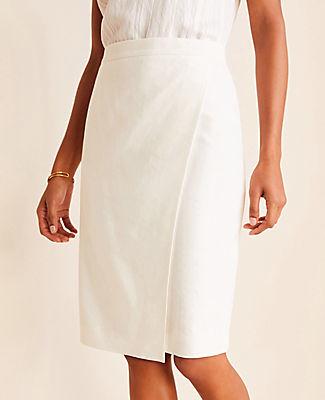 Ann Taylor The Petite Wrap Skirt in Linen Herringbone