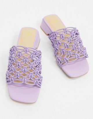 Miista E8 by Leinani clear woven mules in lilac