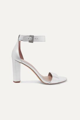 Diane von Furstenberg Chainlink Metallic Leather Sandals - Silver