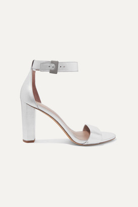 Diane von Furstenberg Chainlink Metallic Leather Sandals - Silver