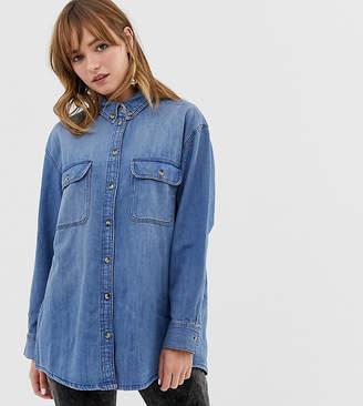 Monki oversized denim shirt in classic blue