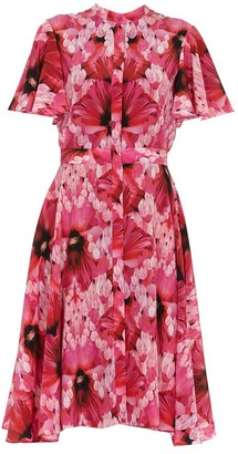 Alexander McQueen Floral Print Short Sleeved Dress