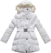 Richie House Girls' Padded Winter Jacket with Belt and Faux Fur Hood RH0784-C-8/9