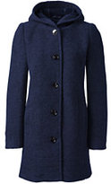Lands' End Women's Tall Textured Wool Coat-Navy Blue Heather