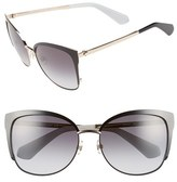 Kate Spade Women's 'Genice' 57Mm Cat-Eye Sunglasses - Black/ Gold