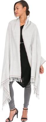 likemary Merino Wrap Shawl Womens Oversize Pashmina Travel Blanket Scarf - 100% Merino Pure Wool Ethical Gift Shoreditch Handwoven Stone Grey 100 x 200cm