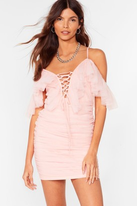 Nasty Gal Womens A Lil Party Mesh Lace-Up Mini Dress - Pink - S, Pink