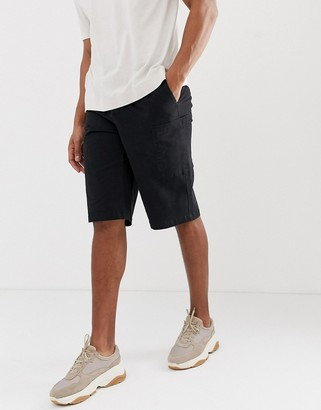 ASOS cargo shorts in black heavyweight twill
