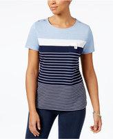 Karen Scott Striped Button-Shoulder Active Top, Created for Macy's