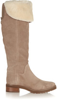 MICHAEL Michael Kors Whitaker shearling-trimmed suede knee boots