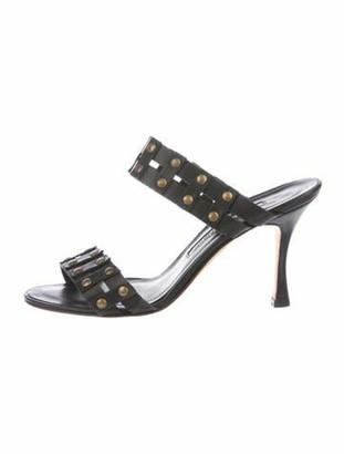 Manolo Blahnik Leather Slides Black