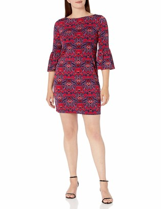 Tiana B T I A N A B. Women's Boat Neck Print Dress with Bell Sleeves