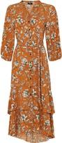 Wallis Orange Floral Print Midi Dress