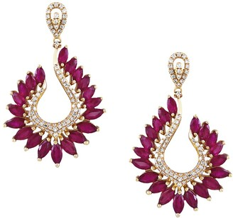 Effy 14K Yellow Gold Ruby Diamond Drop Earrings