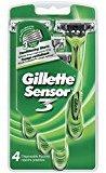 Gillette Sensor3 Men's Disposable Razors, 4 Count (Pack of 3), Mens Razors / Blades