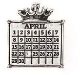 Swarovski Personalized Silvertone Calendar Crown Pendant