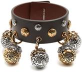 Alexander McQueen Charm-embellished leather bracelet
