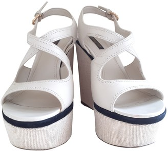 Louis Vuitton White Leather Sandals
