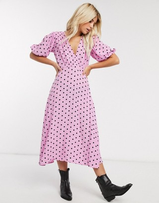 Faithfull The Brand Faithfull vittoria polka dot short sleeve midi dress-Purple