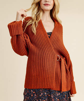 I. Madeline Women's Pullover Sweaters RUST - Rust Ribbed Oblique-Belt Cardigan - Women