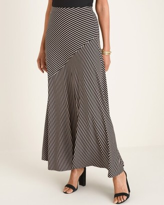 Chico's Black and Neutral Striped Maxi Skirt