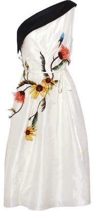 Carolina Herrera One-shoulder Floral-appliqued Silk-taffeta Dress